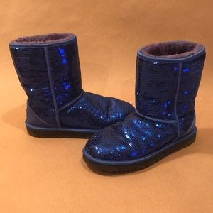 Blue Sequin Ugg Boots Size 8